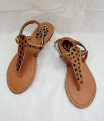 Sandals Genuine Leather in Cream Calf Hair. Tammy
