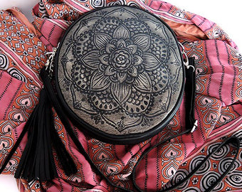 Full mandala Handtooled in Black Grey