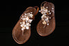T STRAP SHOES Brown Snakeskin w/ Natural Sea Shells Hand Beaded Floral Design