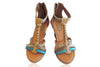 SNAKESKIN SHOES LEATHER / Turquoise Blue Platform Heels. Genuine Snakeskin