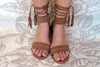 Laura Flats Sandals in Beige Suede Leather