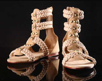 GLADIATOR SANDALS / Greek Sandals for Women. Handmade Shoes in Tan & Suede
