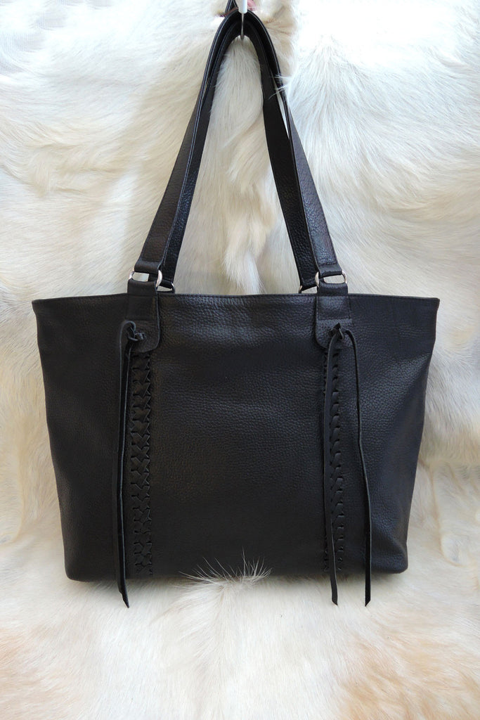Womens Leather Bag in Black Genuine Leather. Stephanie Bag