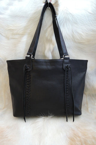 Stephanie Bag in Black Genuine Leather