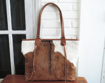 COWHIDE LEATHER BAG In Brown White Hide Hair, Leather Shopper, Leather Bag,Gift for Wife.
