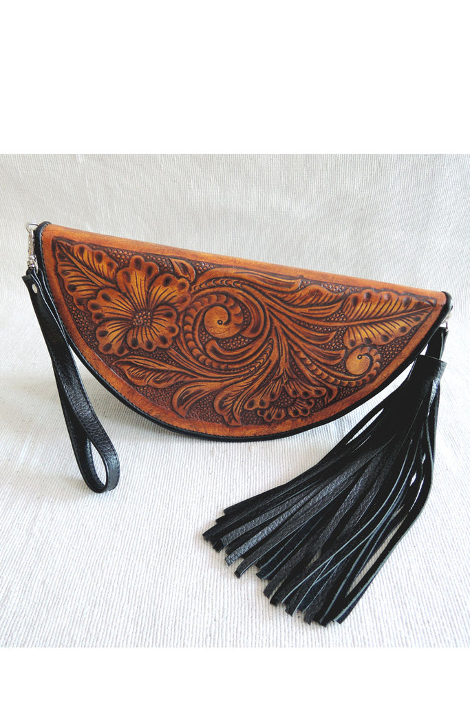 HAND TOOLED CLUTCH in Vintage Tan Feathers. Moon Clutch Celestial
