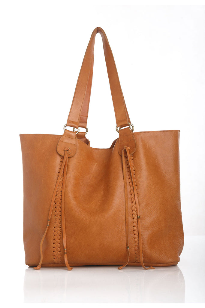 Genuine Leather Tote in Tan. Stephanie Bag