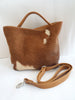 Cowhide Leather Tote in Tan White Hide Hair. Patty Bag. Mother's Day Gift