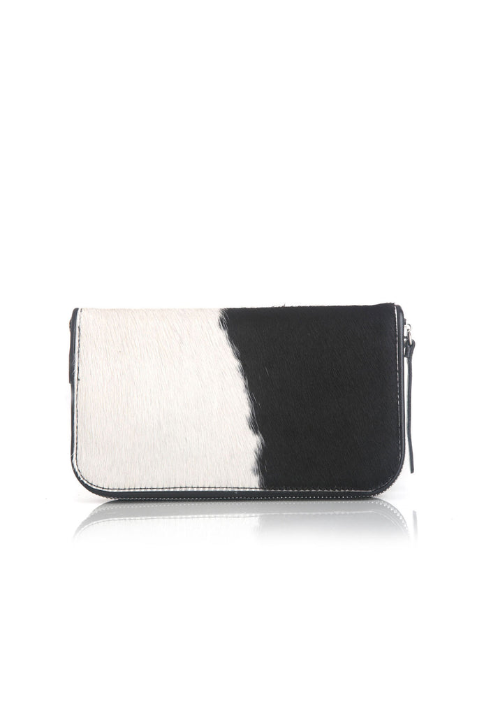Womens Leather Wallet In Black White Calf Hair . Darling Wallet