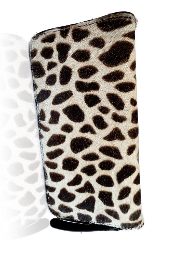 Cowhide Wallet in Dark Tan Calf Hair. Darling Wallet