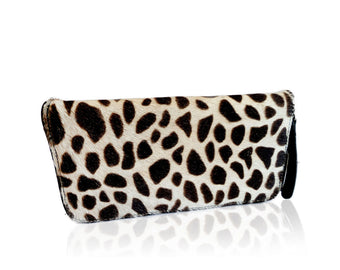 Cowhide Leather Wallet. Giraffe White Cowhide print. Darling Wallet