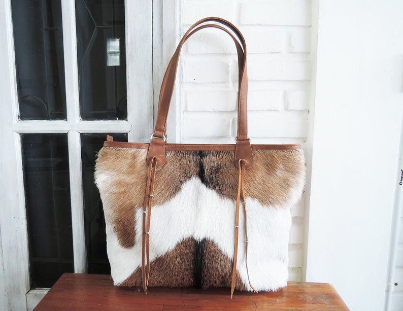 COWHIDE PURSE In Brown White, Tote Bag with Zipper, Diaper Bag