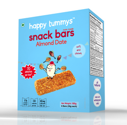 Happy Tummys Almond Date Snack Bars | Natural Energy Boost for Toddlers and Kids | Healthy Snack for Kids | Nutritious and Ready to Eat | (6 Bars) | 180g