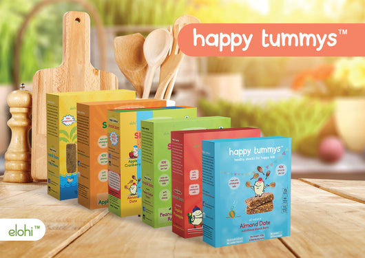 Happy Tummys Super Value Variety Pack - Almond Date, Apple Cranberry, Malty Banana, Peanut Butter Raisin, Tropical Pineapple - All 5 Flavors - 28 Bars (700g)