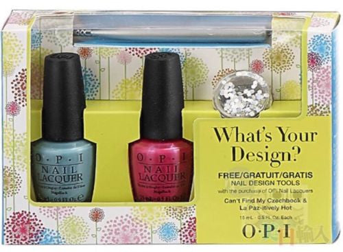 NEW OPI Polish SET WHAT'S YOUR DESIGN? 2 Full size 0.5oz + FREE Tool & Glitter!