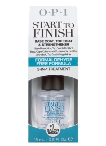 NEW OPI START TO FINISH 0.5 Oz BASE + TOP COAT + STRENGTHENER Formaldehyde Free!