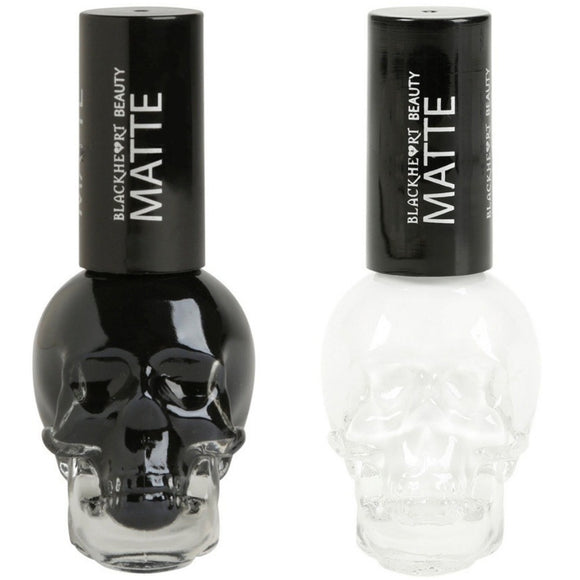 NEW Blackheart Beauty Matte Nail Polish SKULL Choose White or Black .4 oz Full Size