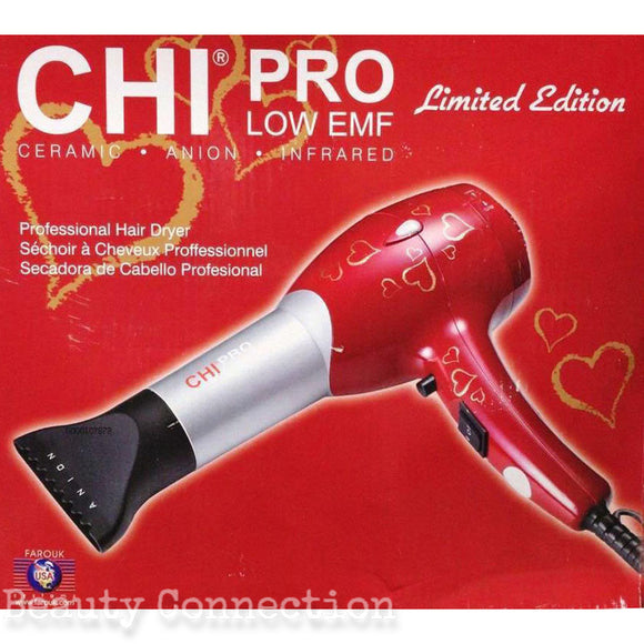 CHI Pro Red with Hearts Design Ceramic Professional Low EMF Hair Dryer with Diffuser