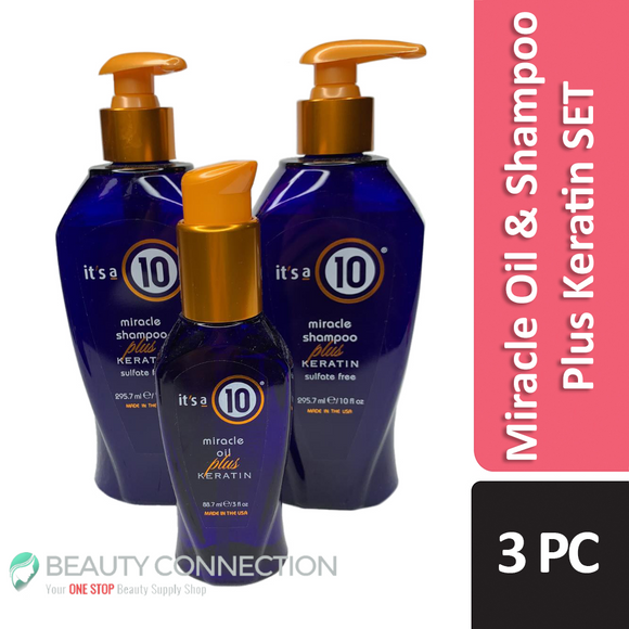 It's A 10 Miracle Shampoo (10oz) & Mineral Oil (3oz) Plus Keratin 3 PC Set