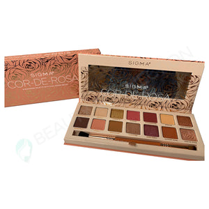 Sigma Beauty Cor-de-Rosa Eyeshadow Palette 14 Shade with Dual-Ended Brush