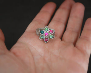 Rajasthani Flower Ring with Glass Stones - Size 6.5