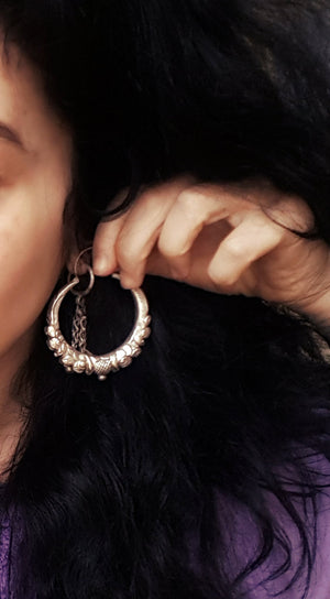 Ethnic Nepali Hoop Earrings - XLARGE