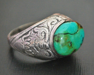 Collectable Afghani Turquoise Silver Ring - Size 9.5