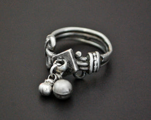 Old Rajasthani Silver Ring with Bells - Size 6