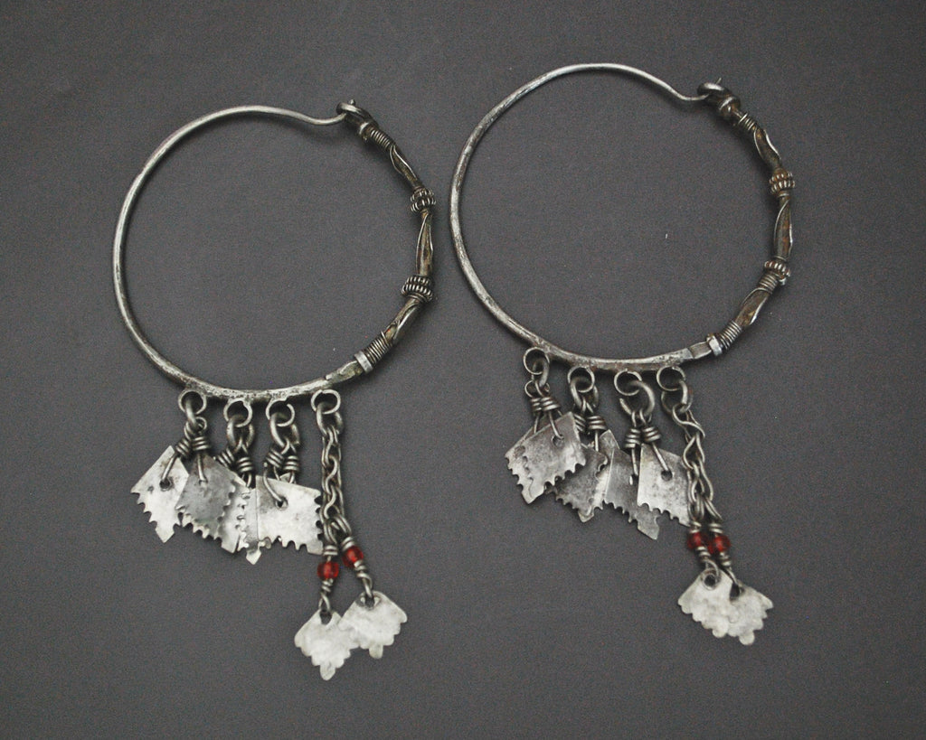 Afghani Hoop Earrings with Tassels - LARGE