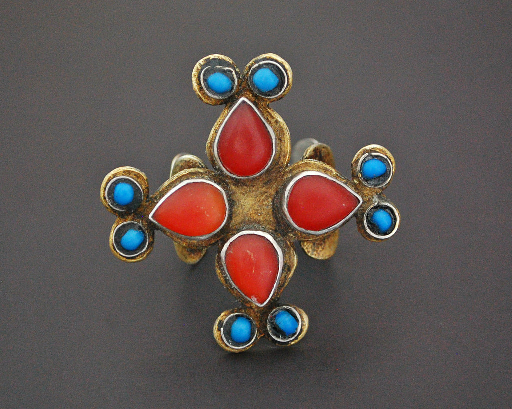 Vintage Turkmen Gilded Ring with Carnelian and Turquoise - Size 9