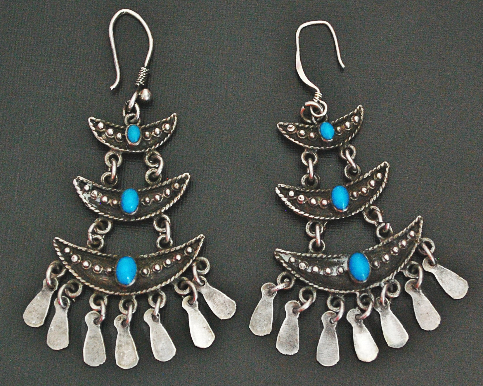 Ethnic Turquoise Earrings with Dangles