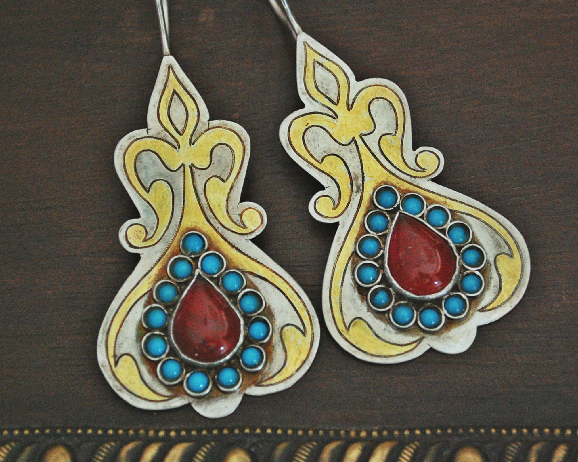 Vintage Turkmen Silver Gilded Earrings with Carnelian and Turquoise