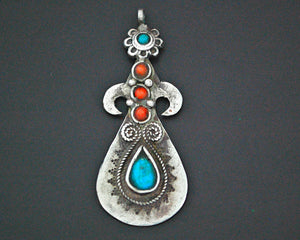 Pretty Uzbek Turquoise and Coral Pendant