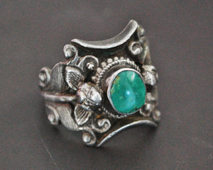 Nepali Turquoise Saddle Ring - Size 7