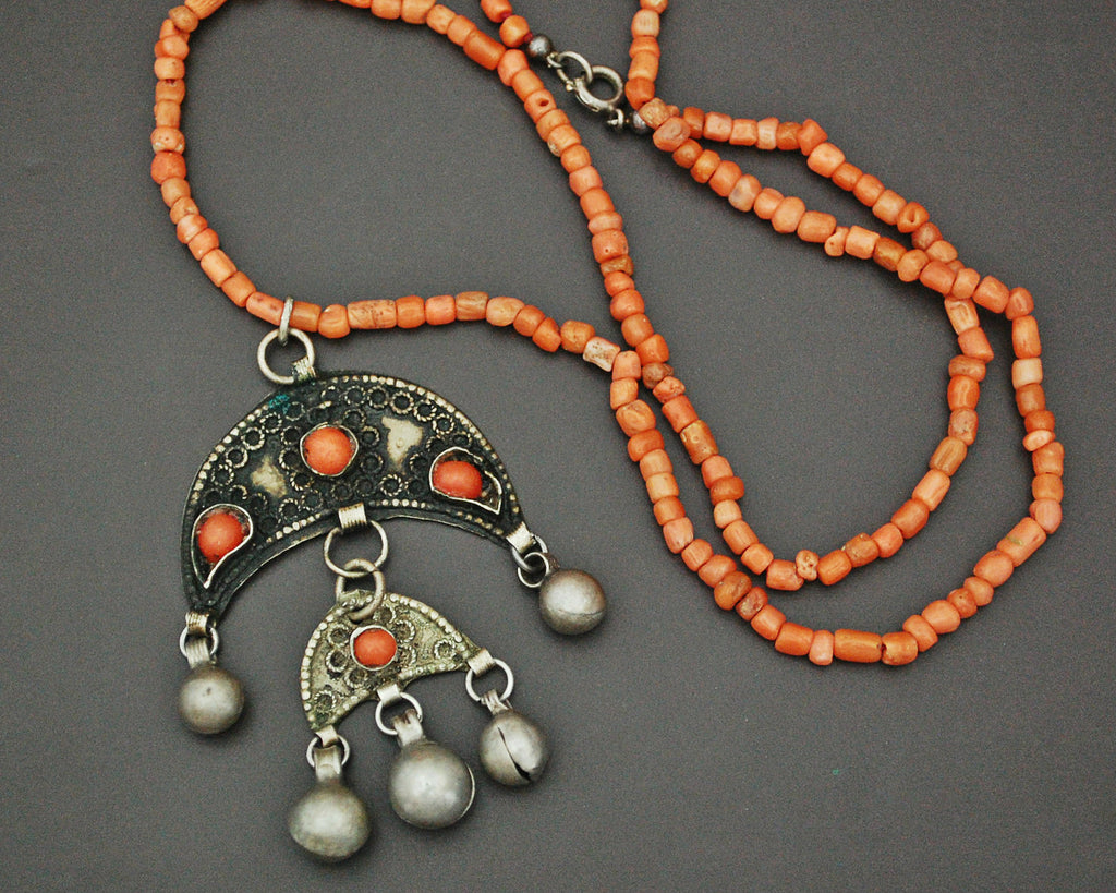 Coral Crescent Bell Dangles Necklace