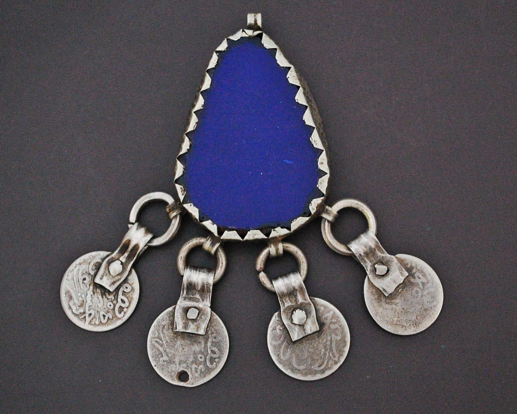 Berber Glass Pendant with Coins