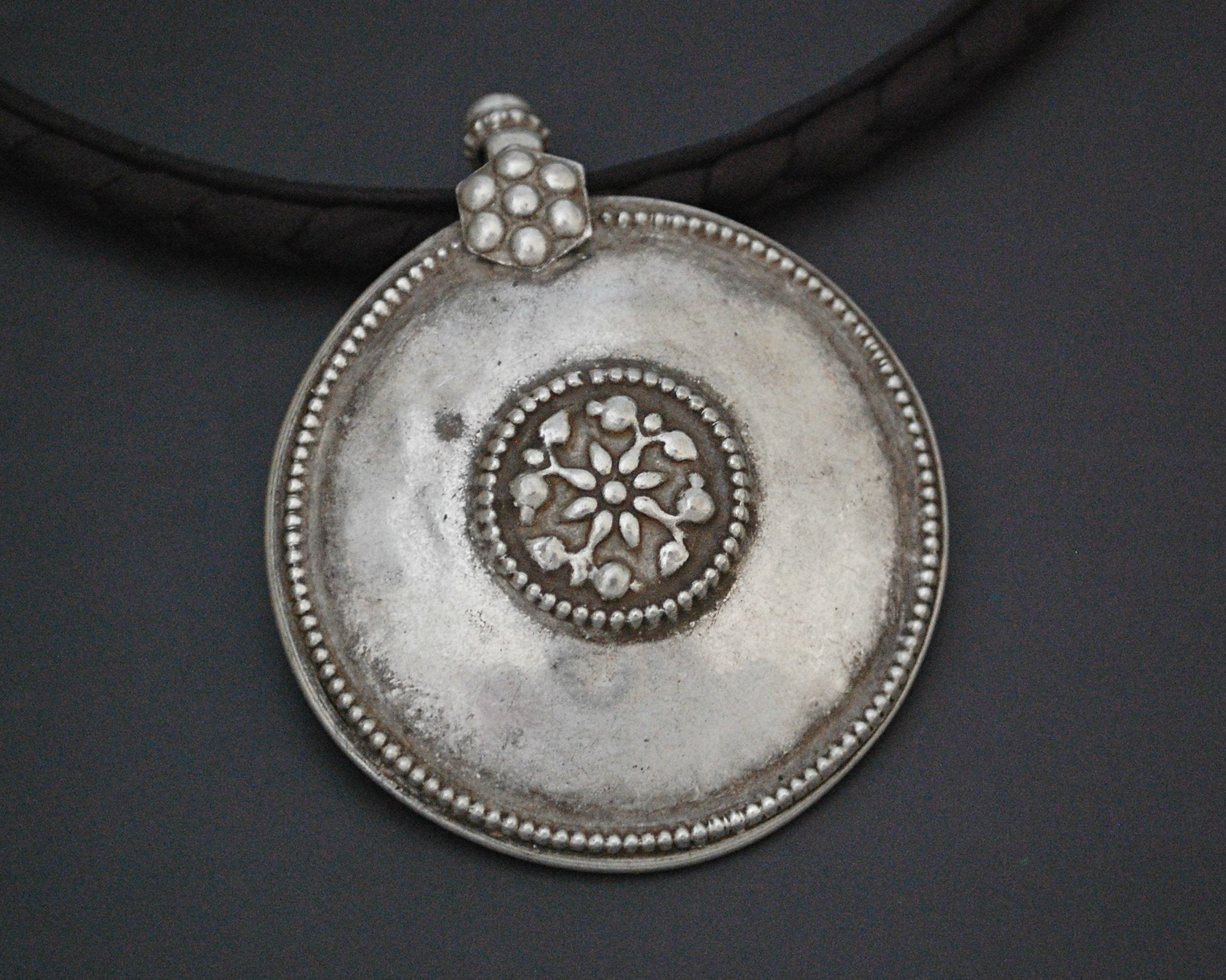 Tribal Silver Rajasthani Disc Pendant - LARGE