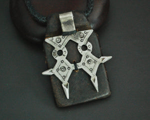 Tuareg Cross Leather Talisman Pendant on Cord