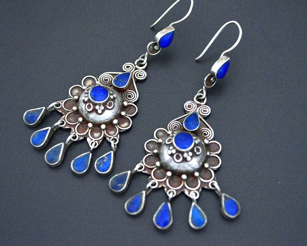 Afghani Lapis Lazuli Earrings with Dangles