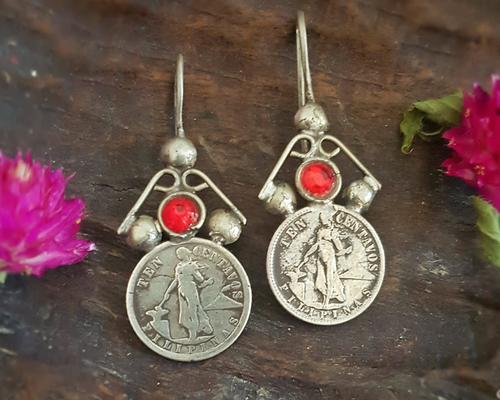 Old Berber Coin Earrings with Red Glass