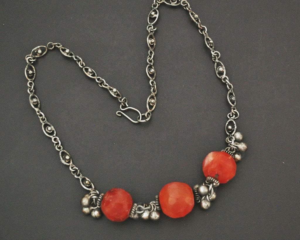 Indian Silver and Carnelian Beads Necklace