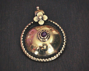 South Indian 22K Thali Bottu Pendant with Ruby