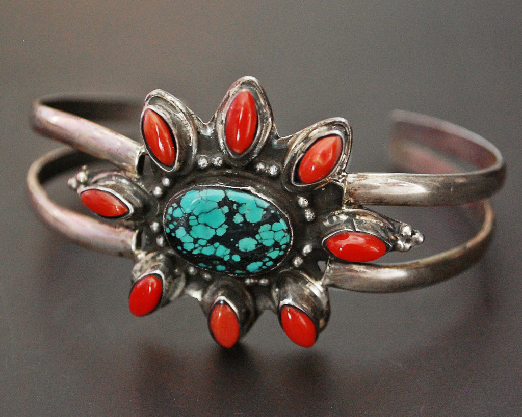 Nepali Coral and Turquoise Cuff Bracelet