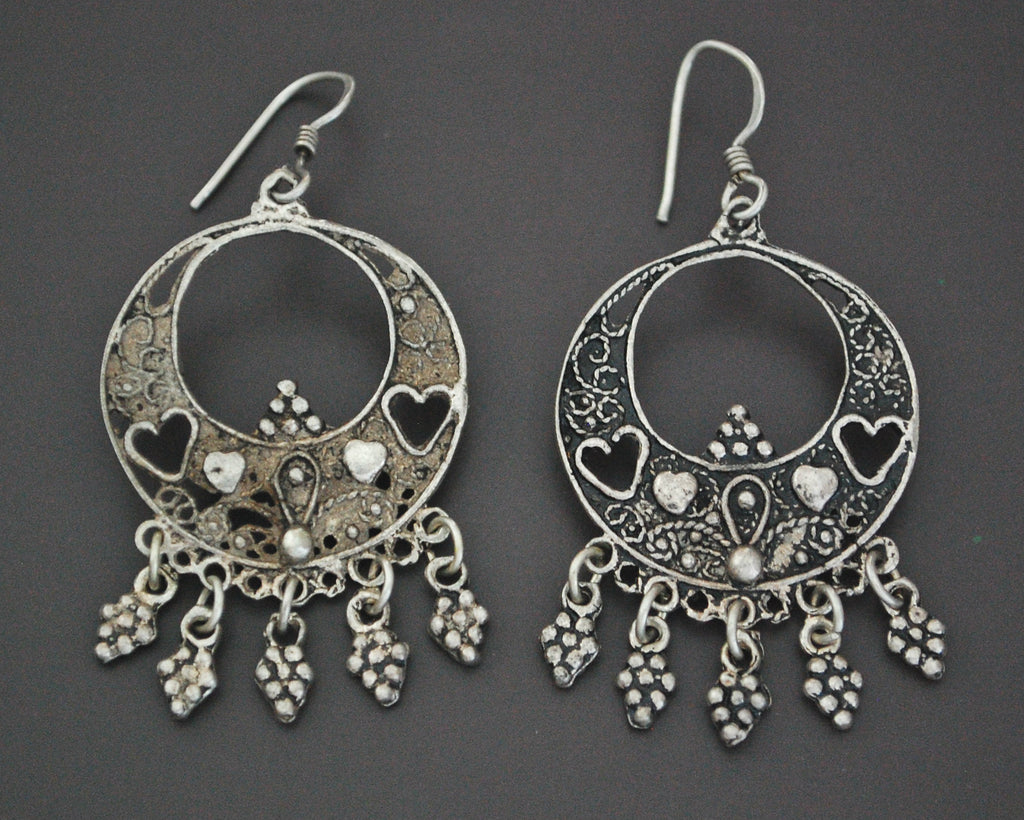 Vintage Filigree Silver Earrings with Heart Motif and Dangles