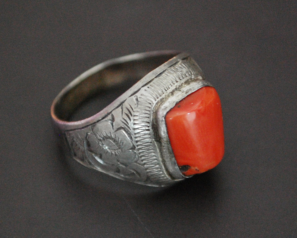 Old Afghani Coral Ring - Size 9.75