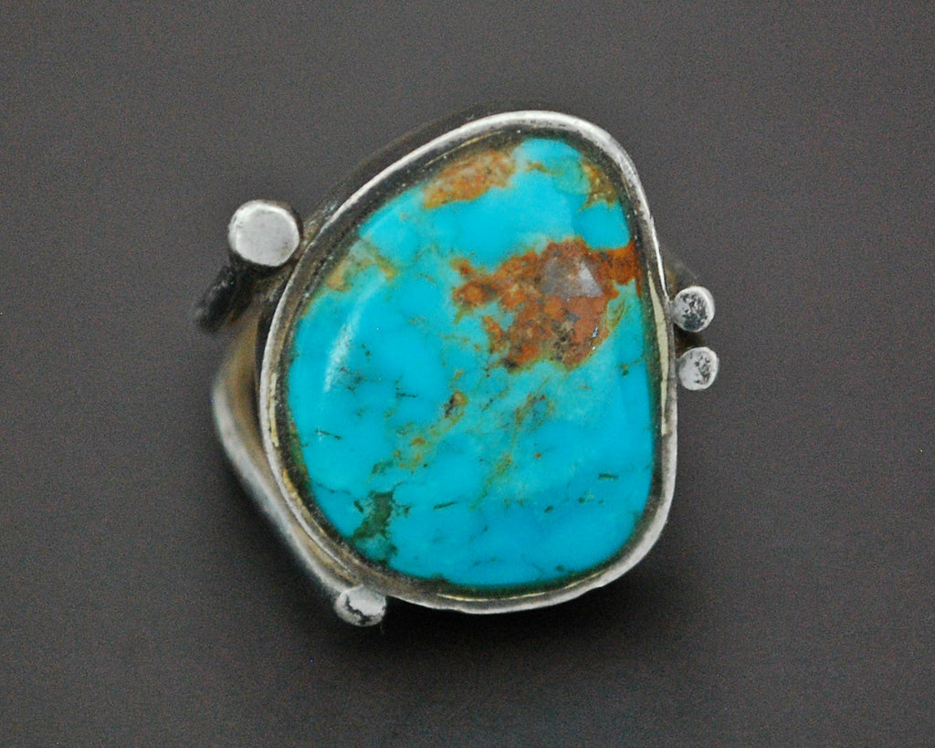 Ethnic Persian Turquoise Ring - Size 8