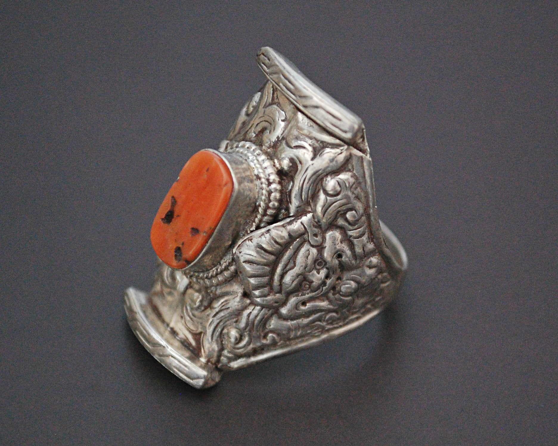 Large Tibetan Coral Saddle Ring - Size 12.5