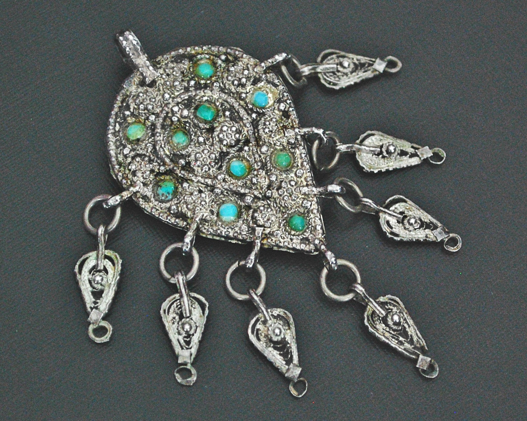 Yemeni Filigree Pendant Brooch with Turquoises