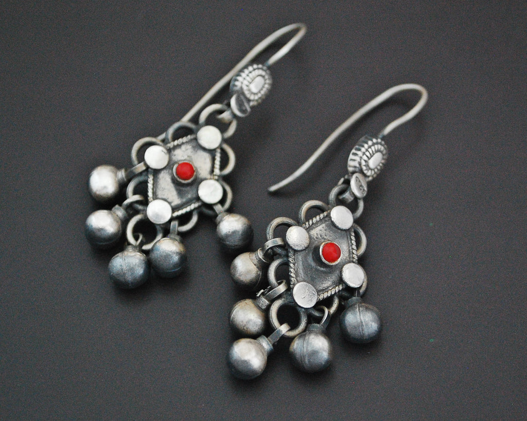 Rajasthani Coral Silver Earrings with Bells