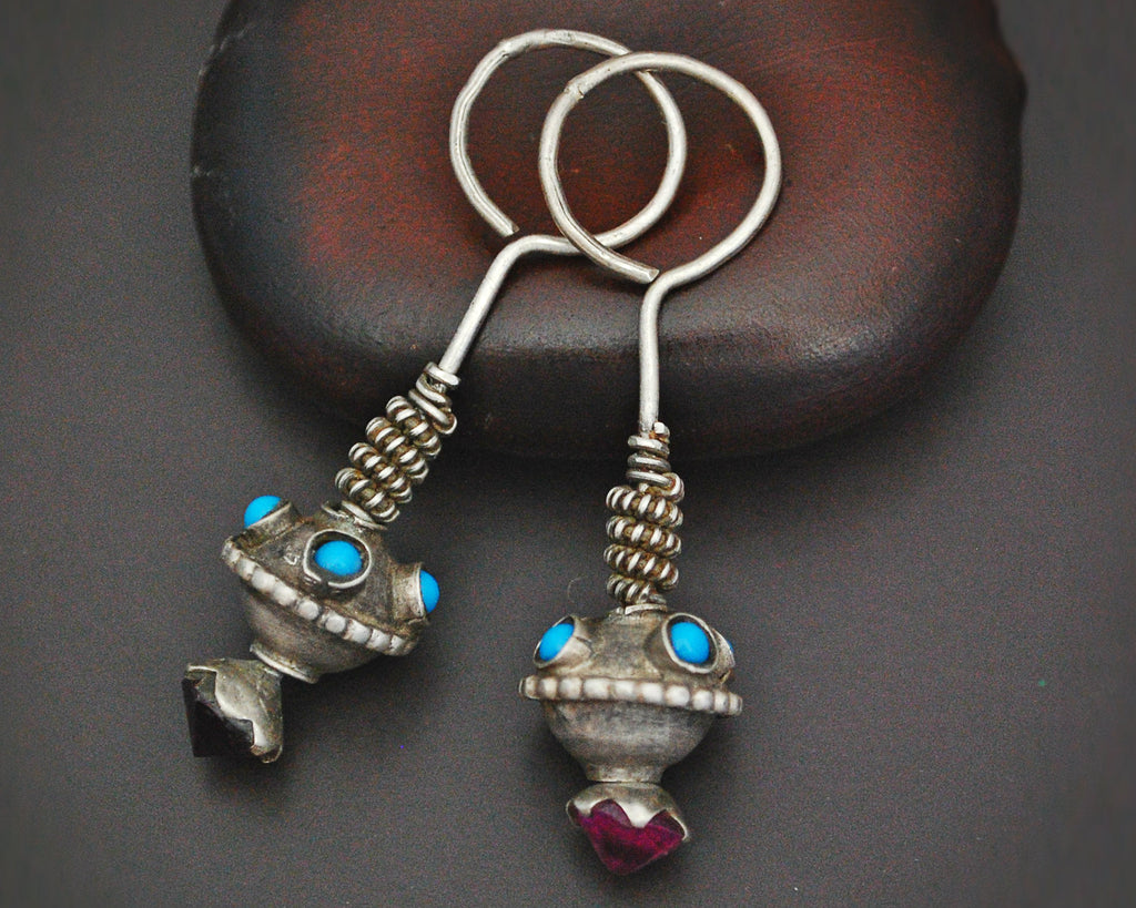 Antique Afghani Earrings with Pink Glass